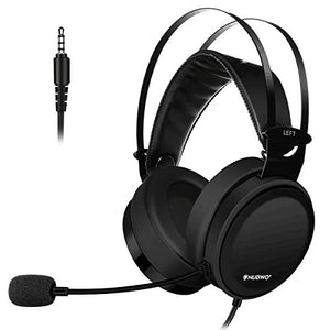 Lightweight PS4 Xbox One Gaming Headset Stereo with Microphone Mute 3.5mm Wired Over Ear Computer Headphones Volume Control Flexible Headband for PC, Laptop, Tablet, Mac, Chat, Video Conference -Black - reyes shop store