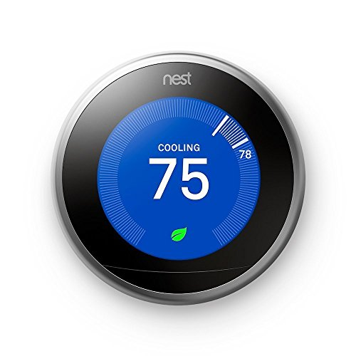 Nest Learning Thermostat, Easy Temperature Control for Every Room in Your House, Stainless Steel (Third Generation), Works with Alexa - reyes shop store