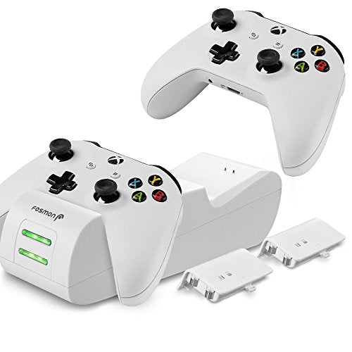 Fosmon Xbox One / One X / One S Controller Charger, [Dual Slot] High Speed  Docking / Charging Station with 2 x 1000mAh Rechargeable Battery Packs