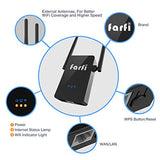 Farfi AC750 750Mbps WiFi Range Extender 2.4Ghz&5Ghz WiFi Repeater with Double External Antennas
