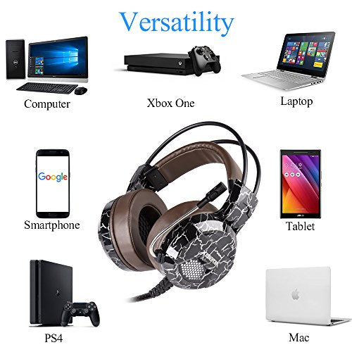 Xbox One PS4 Gaming Headset, 3 5mm Wired with Microphone for PC Over Ear  Computer Headphones Volume Control Mic Mute Switch for Laptop, Mac, Tablet,