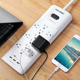 HOLSEM 12 Outlets Surge Protector Power Strip with 3 Smart USB Charging Ports (5V/3.1A) and 6' Heavy Duty Extension Cord, White