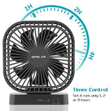 OPOLAR 5 Inch Desk Fan with Timer, USB or AA Battery Operated, 3 Speeds, Extra Quiet, 7-Blade Design, Adjustable Angle, for Office Desk, Bedroom and Outdoor (without Batteries) - reyes shop store