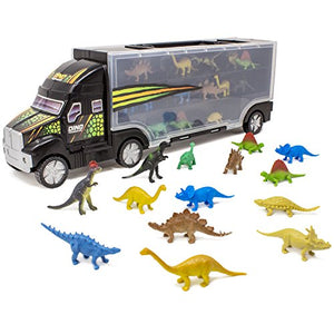 "Boley 14 Piece 16"" Dinosaur Transport Truck Carrier - Miniature Dino Figures with Semi Truck Trailer Toy - Loadable Miniature Dinosaurs with Portable Truck and Collapsible, Easy-to-Hold Handle"