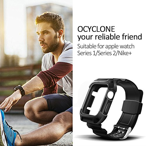 premium selection 00a42 889b0 Apple Watch Band 42mm, Ocyclone Apple Watch Series 3 42mm Band iWatch 3/2/1  Sport Protective Bumper Case Strap Replacement for Active Style Men and ...