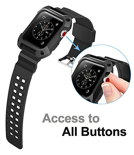 premium selection 42577 7f915 Apple Watch Band 42mm, Ocyclone Apple Watch Series 3 42mm Band iWatch 3/2/1  Sport Protective Bumper Case Strap Replacement for Active Style Men and ...