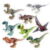 IROCH 8pcs ABS Dinos Toy,Dinosaur Building Blocks Miniature Action Figures - reyes shop store
