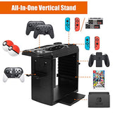 DACCKIT Charge & Display Stand Compatible with Nintendo Switch System,Vertical Stand with Charging Station for Console, 2X Pro Controllers, 2X Poke Ball Plus, 2X Joy-Con and Charging Grip