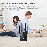 Coredy WiFi Range Extender, AC1200 Dual Band Mini WiFi Repeater, Wi-Fi Signal Booster, Wireless Access Point with 4 Ethernet Antennas, Extending WiFi to Whole Home and Garden (Prescitech X12)