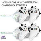 Fosmon Xbox One / One X / One S Controller Charger, [Dual Slot] High Speed Docking / Charging Station with 2 x 1000mAh Rechargeable Battery Packs (Standard and Elite Compatible) - White - reyes shop store