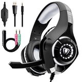 Beexcellent Gaming Headset for PS4 Xbox One PC with Noise Isolation Mic Crystal Stereo Surround Sound LED Lights (GM-1) (Grey)