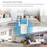 Coredy N300 Mini WiFi Range Extender All-New Upgraded Wireless Repeater Internet Signal Booster Wi-Fi Access Point with High Power Ethernet Antennas, Boosting Whole Home WiFi Coverage