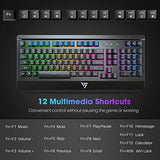VicTsing Gaming Keyboard USB Wired Keyboard, Quiet All-Metal Panel Spill-Resistant Keyboard with Ergonomic Wrist Rest, Ultra-Slim Rainbow LED Backlit Keyboard for Desktop, Computer