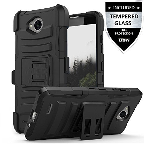 LG Fiesta Case / LG Fiesta 2 Case / LG X Charge Case / LG X Power 2 Case With Tempered Glass Screen Protector,IDEA LINE Heavy Duty Armor Shock Proof Combo Holster Kickstand Belt Clip - Black - reyes shop store