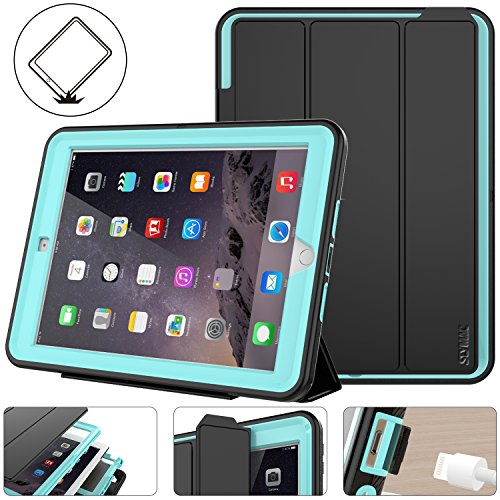 SEYMAC Stock for New iPad Case,iPad 5th/6th Generation 9.7 inch Case Heavy Duty Drop Poof Smart Cover Auto Sleep Wake with Leather Stand Feature for Apple New iPad 2017/2018 Released (Black/Sky Blue)