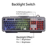MFTEK Rainbow Backlit Wired Gaming Keyboard and Mouse Combo with LED Glowing PC Over-Ear Headset Set+ Mouse Pad for Gaming Computer