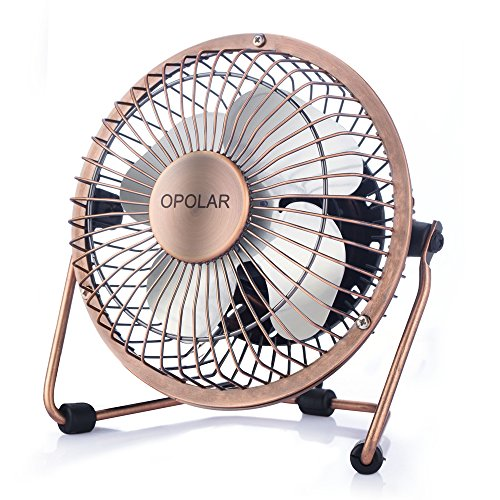 OPOLAR Mini USB Table Desktop Personal Fan (Metal Design, Quiet Operation; 3.9 feet USB Cable, High Compatibility - Bronze) - reyes shop store