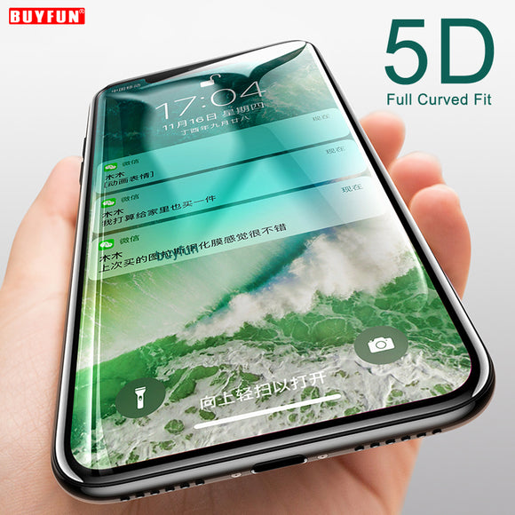 5D Full Cover For iphone x 7 8 6 plus iphonex 8pluss 7plus Protective Tempered glass Flim case For iphoe i phone x 7 apple case - reyes shop store
