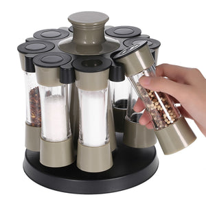 8pcs Kitchen Tools Rotating Spices Bottles/Set Acrylic Seasoning Rack Salt Pepper Storage Organizer Home Kitchen Cooking Tool