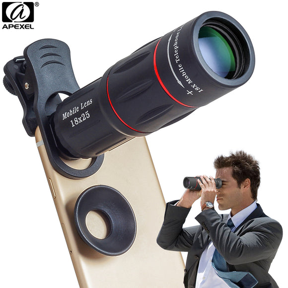 APEXEL Mobile Phone Lenses 18X Telescope Zoom Smartphone Camera Lens for iPhone Samsung Xiaomi universal clip APL-T18 - reyes shop store