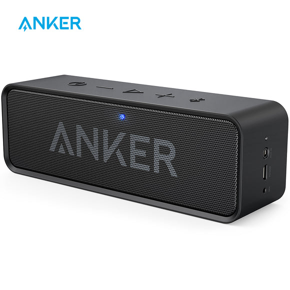 Anker SoundCore Portable Wireless Bluetooth Speaker with Dual-Driver, 24-Hour Playtime, 66-Foot Bluetooth Range & Built-in Mic - reyes shop store