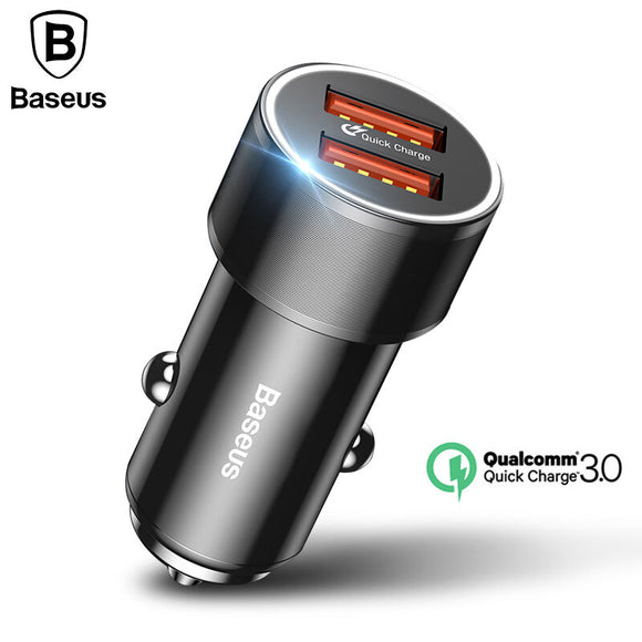 Baseus 36W Dual USB Quick Charger QC 3.0 Car Charger For iPhone 8 Samsung S9 Mini Car-Charger Cell Phone Travel Adapter Chargers - reyes shop store