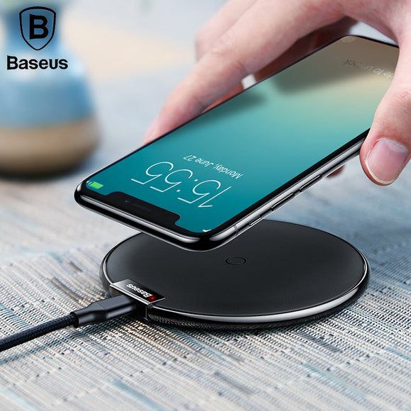 Baseus Leather Wireless Charger For iPhone X 8/8P Samsung Galaxy S9 S9+ Note 9 8 Fast wireless charger QI Wireless Charging Pad - reyes shop store