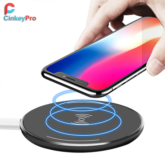 CinkeyPro Wireless Charger Charging Pad for iPhone 8 10 X Samsung S7 S8 5V/1A Adapter Charge Mobile Phone QI Device Universal - reyes shop store