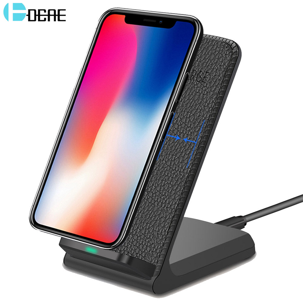 promo code e4a7c cefe7 DCAE Leather Qi Wireless Charger For iPhone X 8 Plus Quick Charge Fast  Wireless Charging Pad Car Holder Stand For Samsung S9 S8