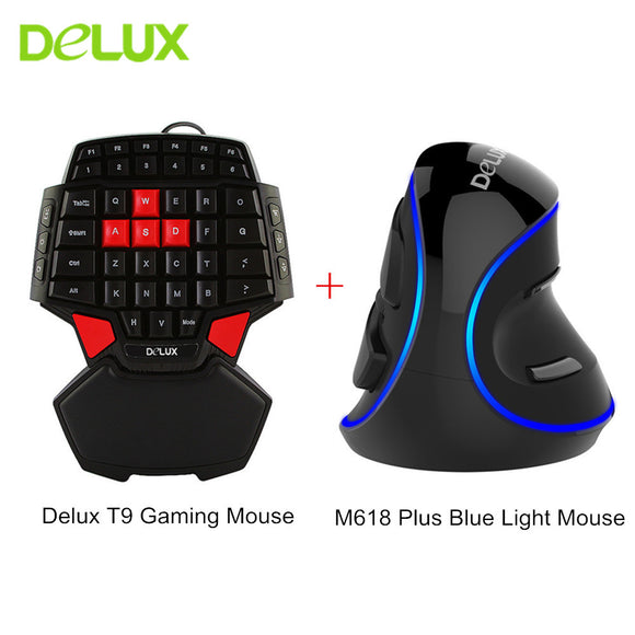 Delux T9 Gaming Keyboard Mini 47 keys Keypad M618 Plus Ergonomic Vertical Mouse Gaming Mouse Mice for PC Computer Gamer Mouse - reyes shop store