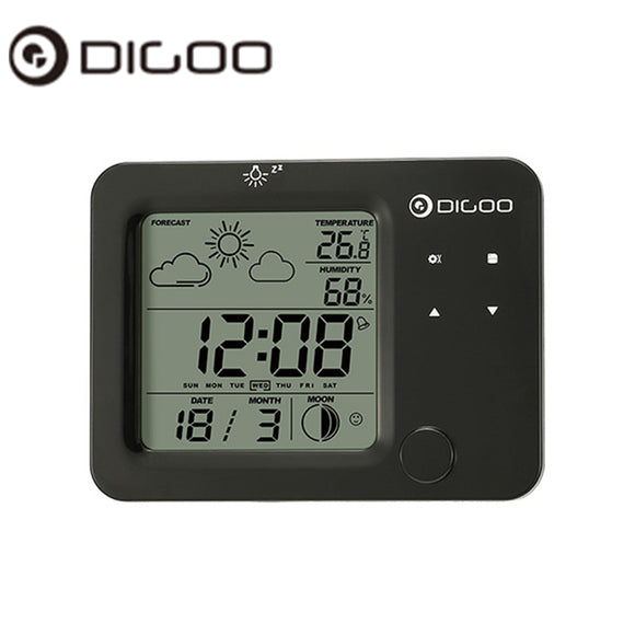 Digoo DG-C5 Wireless Blue Backlit Hygrometer Thermometer Weather Forecast Station Touch Sensor Alarm Clock - reyes shop store
