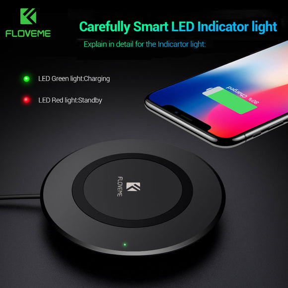 FLOVEME Qi Wireless Charger For iPhone X 8 8 Plus Charging For Samsung Galaxy S8 S8 Plus S7 S6 edge Note 8 5 Phone Chargers Pad - reyes shop store