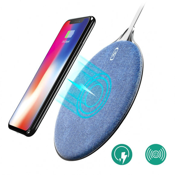 Fast Wireless Charger, wofalo 10W Jean Fabric Qi Wireless Charger Fast Charging Pad for iPhone X/ iPhone 8 / 8 Plus, Samsung Gal - reyes shop store