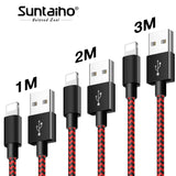 For iPhone X USB to Lighting iPhone Charger Cable,Suntaiho Nylon USB Fast Charging Cord for iPhone 7 8 6 3pack Data Phone Cable - reyes shop store