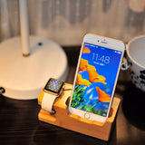 For iphone apple watch Charging Dock Station for Iphone 8 7 7 Plus 6 6S Plus 5 5S Wooden 3A Stand Holder Charger USB Port - reyes shop store