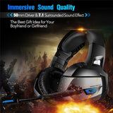 Gaming Headphone for PS4 Xbox One Nintendo Switch with Crystal Clear Sound  LED Lights Noise-canceling Microphone Headset - reyes shop store