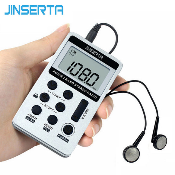 JINSERTA  Portable Radio FM/AM Digital Portable Mini Receiver With Rechargeable Battery& Earphone Radio Recorder+Lanyard - reyes shop store