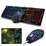 K-13 Wired Rainbow Backlit illuminated Usb Multimedia Ergonomic Gaming Keyboard + 2400DPI Optical Gaming Mouse For Gamer Laptop - reyes shop store