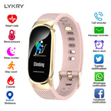 LYKRY Women Smart Watch Sport Pedometer Smartwatch Heart Rate Blood Pressure Oxygen Monitor Fitness Tracker Call Alarm Reminder