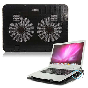Laptop Cooling Cooler Pad Stand USB Powered Two Fans for 15.6 inch Notebook XXM8 - reyes shop store