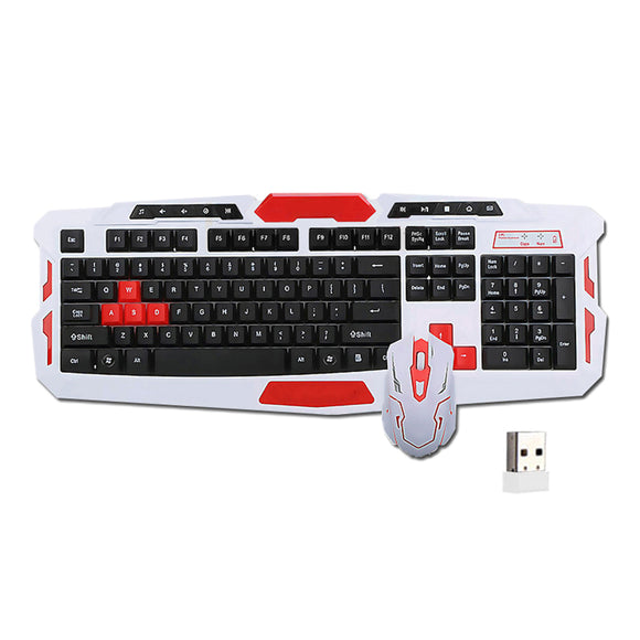 NOYOKERE  Wireless Keyboard Mouse Set USB 2.4Ghz 1600DPI Gaming Gamer Mice Multimedia Waterproof for Computer PC desktop - reyes shop store