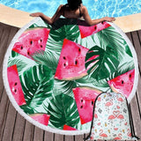 Pineapple Watermelon Printing Beach Towel with Tassel Home Decorative Casual Wall Tapestry Couch Bed Knee Blanket