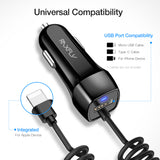 RAXFLY USB Car Charger With Micro USB Type C Lighting Cable Car Charging For iPhone X 8 7 Plus Car USB Adapter For Samsung S8 S9