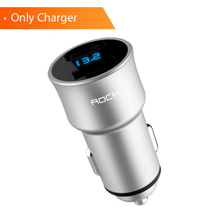 ROCK H2 Dual USB Car Charger Digital LED Display 5V 3.4A Aluminium Alloy Fast Charging Voltage Monitoring For iPhone Samsung