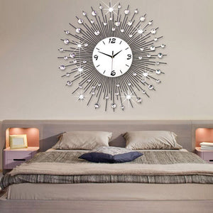 SZS Hot Modern Style 60CM DIY Large Round Metal Wall Clock Home Office Decor Quartz Move- white