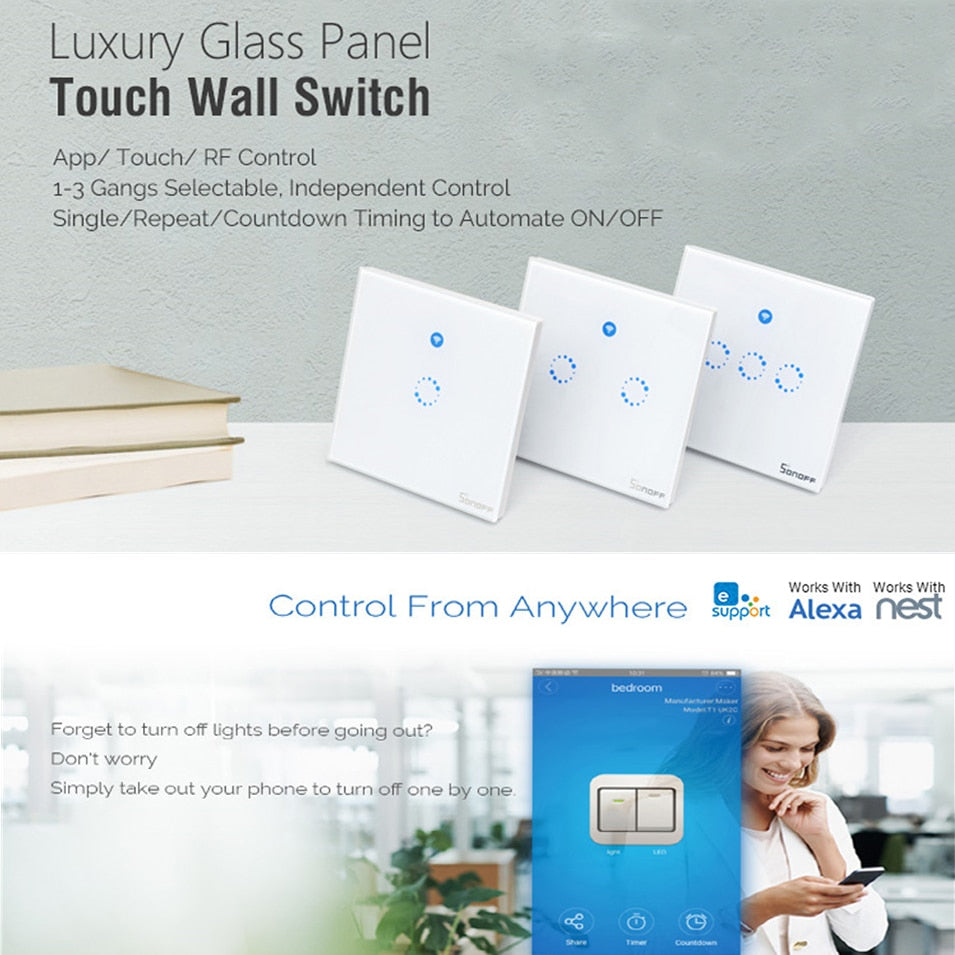Sonoff T1 EU UK Panel WiFi RF 433/ APP / Touch Control Wireless Light  Switch 1 2 3 Gang 1 Way Wall Touch Glass Switch Smart Home