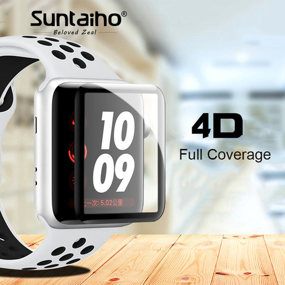 Suntaiho 4D Full Cover Soft Edge Full gel glass film For i Watch 42mm Screen Protector Film for Apple Watch 38 mm Series 1 2 3