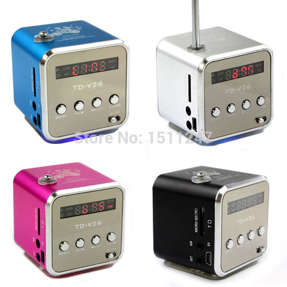 mini Digital portable radio FM speaker internet  FM radio USB SD TF card player for mobile phone PC music player V26R-2 - reyes shop store