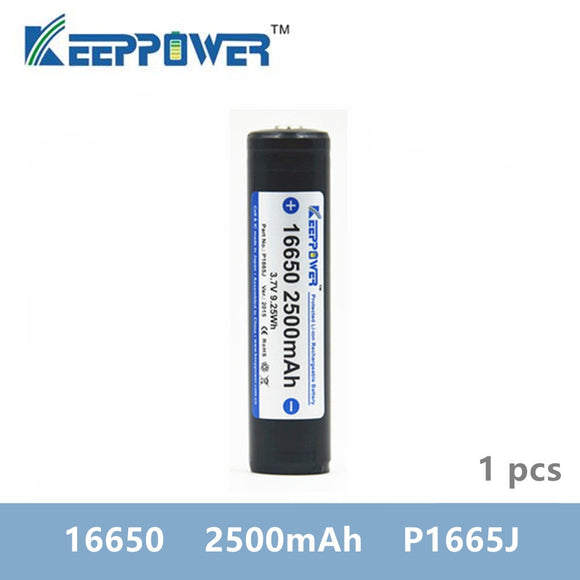 1 pcs KeepPower 16650 2500mAh protected lithium rechargeable battery P1665J 3.7V drop shipping batteria