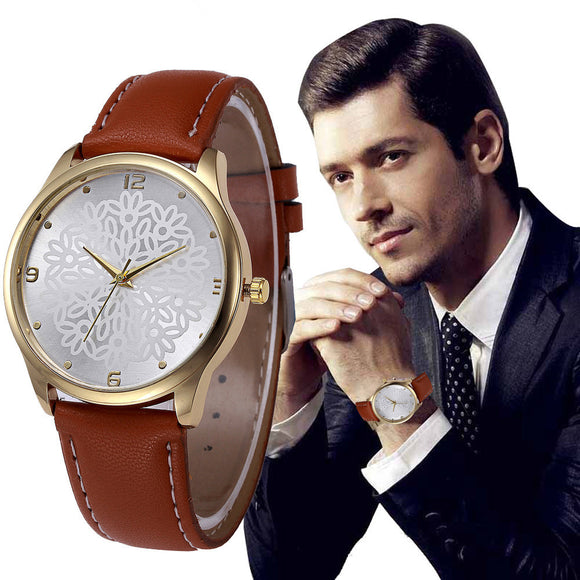 Watches 2017 Faux Leather Band Analog Alloy Quartz Wrist Watch Wristwatches For Men Clock - reyes shop store